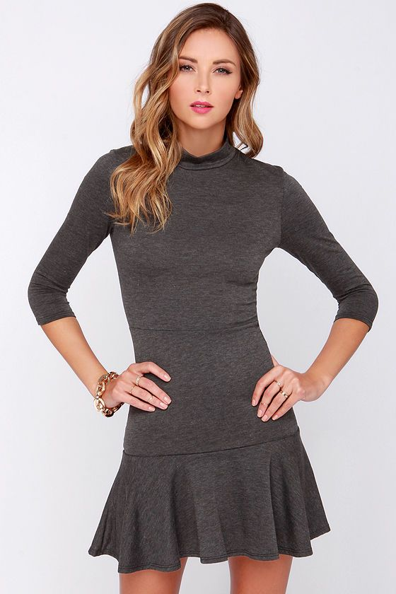 Mock and Roll Charcoal Grey Dress at Lulus.com!