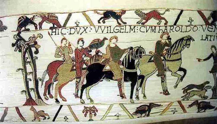 Willem de veroveraar en Harold op het tapijt van Bayeux. (Foto: Wikimedia)