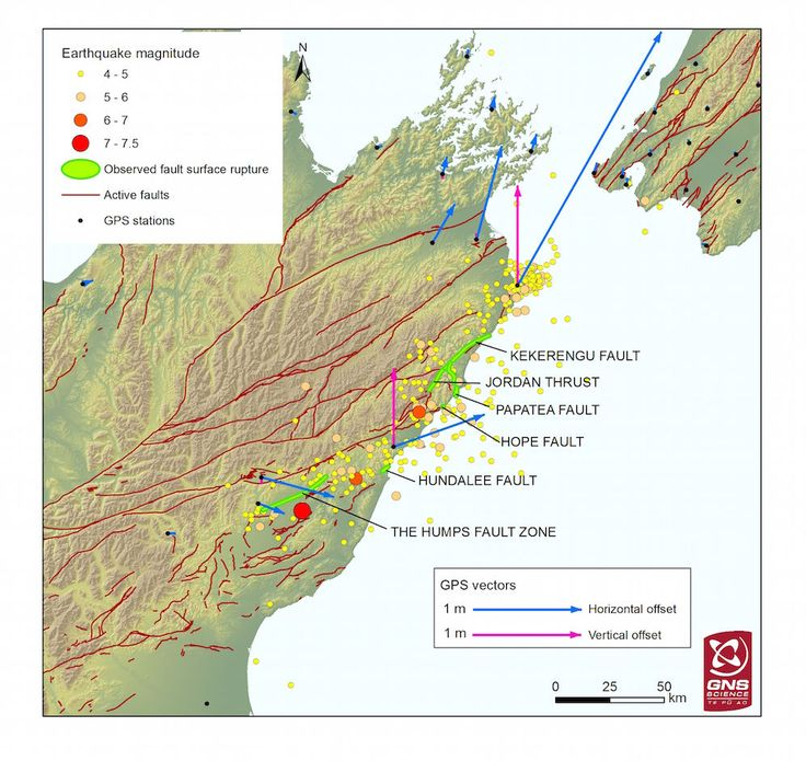 A new map reveals that six faults ruptured during the Nov. 14 Kaikoura earthquake in New Zealand. The magnitude-7.8 quake (it alone or aftershocks?) ruptured at least four faults along the coast, as well as two inland. Arrows show the level of displacement along each of these faults.