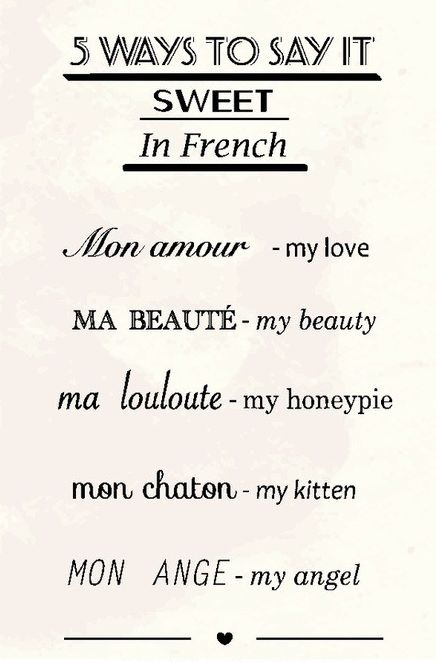 5 ways to say it sweet in French