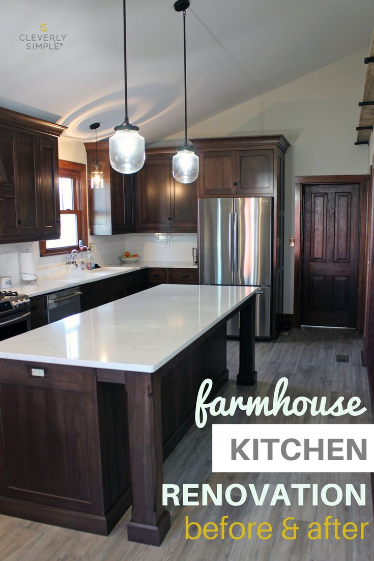 See the before and after pictures of this farmhouse kitchen renovation with dark wood cabinets, quartz countertops and tile floors.