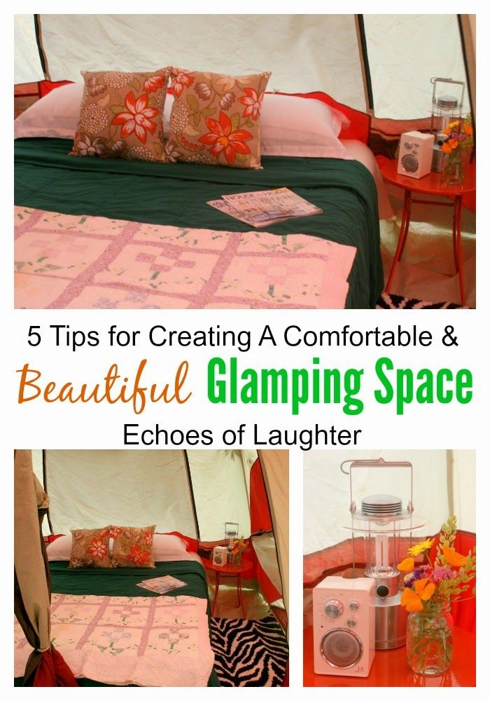 5 Tips For Creating A Comfortable Glamping Space! Tips for getting a good night's sleep while in the great outdoors!