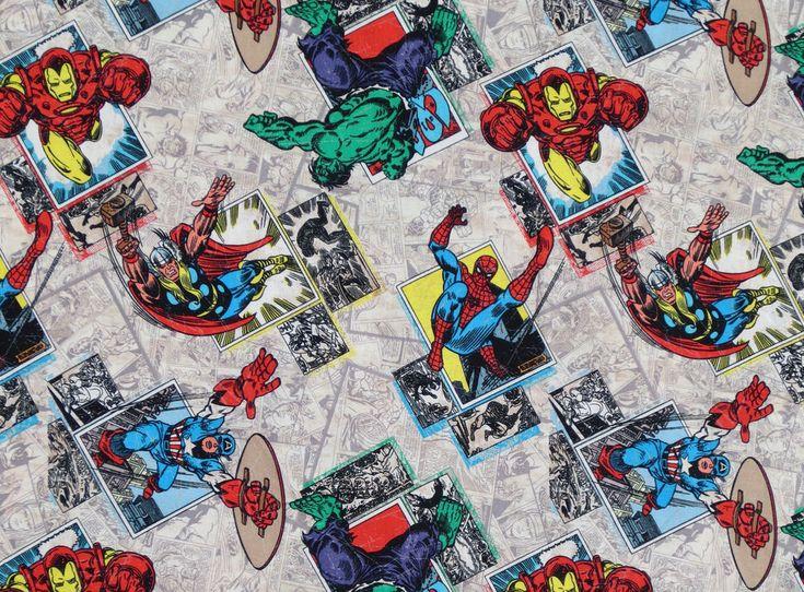 MARVEL RETRO BADGE AVENGER CHARACTERS SUPERHEROS HERO 100% COTTON FABRIC YARDAGE #Marvel