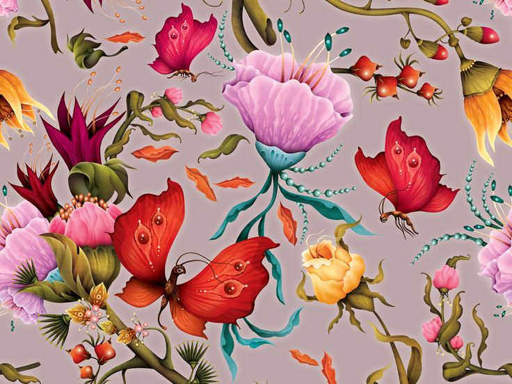 Butterfly pattern by Finnish illustrator Annika HIltunen, 2016