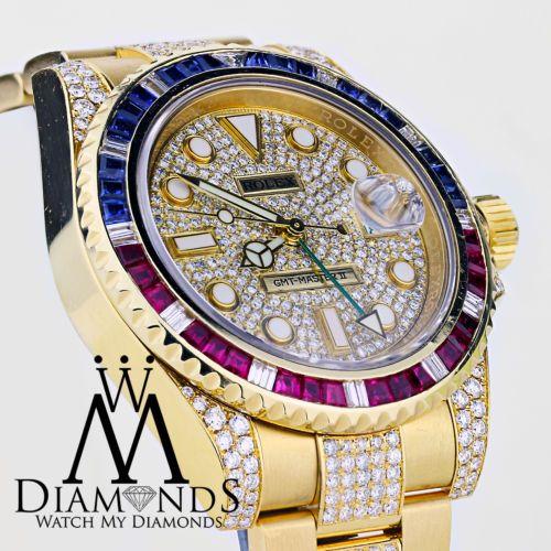 Rolex-GMT-Master-II-116718-18k-Oro-Amarillo-Diamantes-De-Pepsi-Bisel-Rubies-zafiros