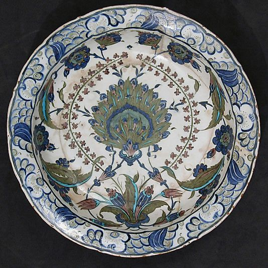 Dish with Floral Design Dish Date: ca. 1545–60 Turkey, Iznik Medium: Stonepaste; polychrome painted under transparent glaze H. 2 7/8 in. (7.3 cm) Diam. 13 7/8 in. (35.2 cm)