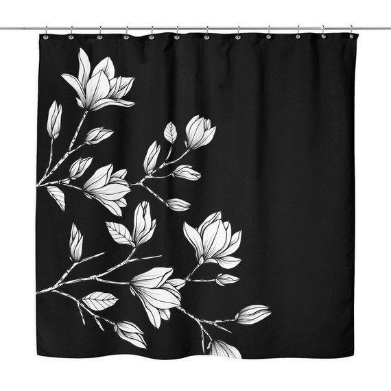 Cherry Blossom Illustration Shower Curtain Black Floral Vintage