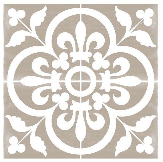 19 best faux carreaux de ciment images on pinterest stencil grey and mosaics. Black Bedroom Furniture Sets. Home Design Ideas