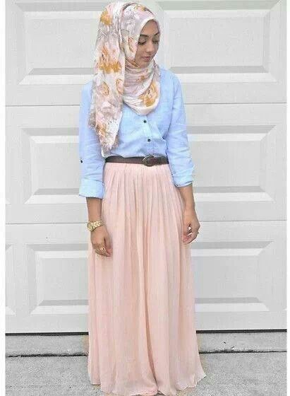 Hijab outfit. Bleached chambray button up. Peach maxi skirt with a floral hijab scarf and a gold watch to finish it off