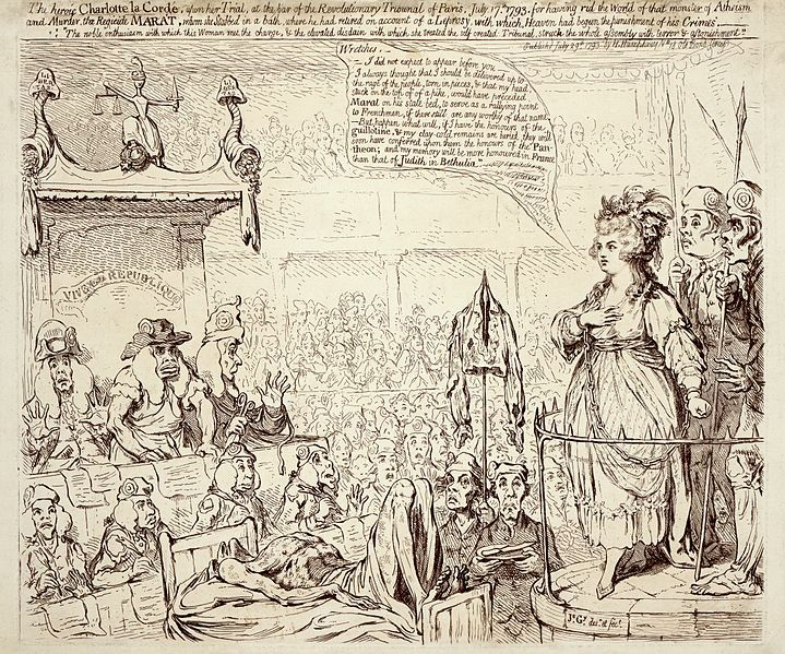 #BastilleDay The heroic Charlotte la Corde, upon her trial, at the bar of the revolutionary tribunal of Paris, July 17 1793.