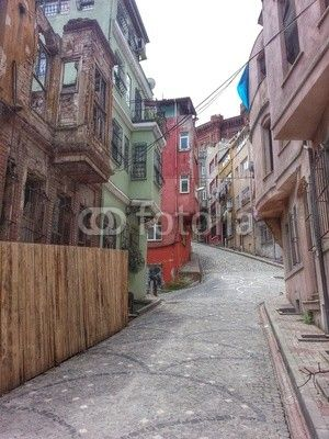 Istanbul, Fener zone view over a street with colourful house facades