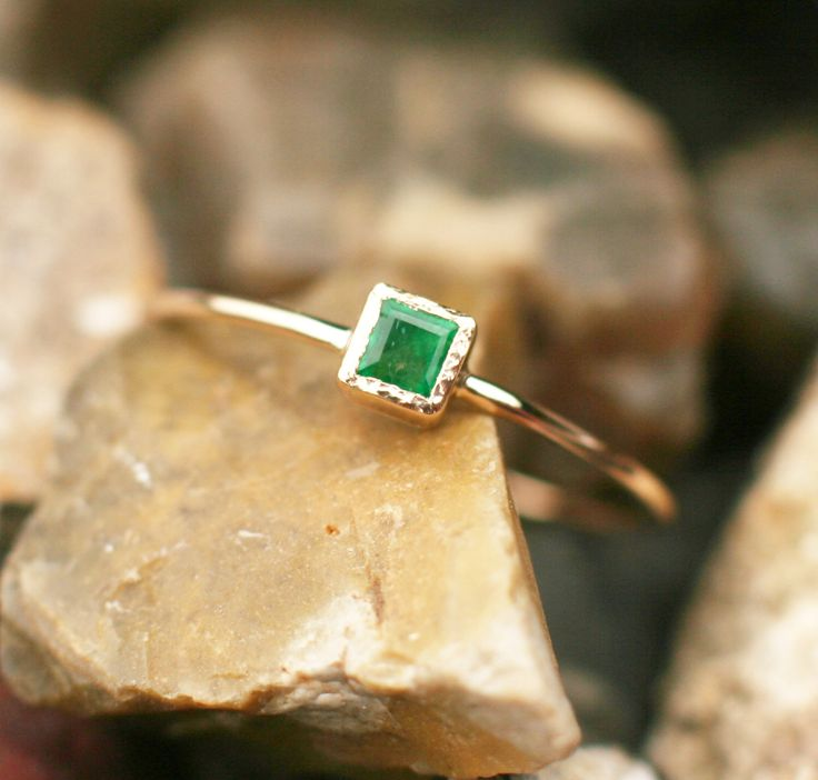 PROMISE RING Natural emerald ring, natural emerald engagement, 14k gold emerald ring, square emerald ring, green gemstone ring, handmade by ARPELC on Etsy https://www.etsy.com/listing/470112763/natural-emerald-ring-natural-emerald