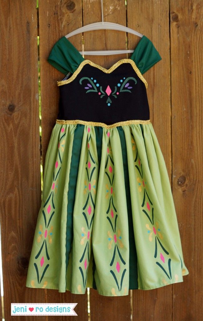 O's 5th Birthday dress - Princess Anna from Frozen, Coronation dress.  Hand painted details - www.jenirodesigns.com