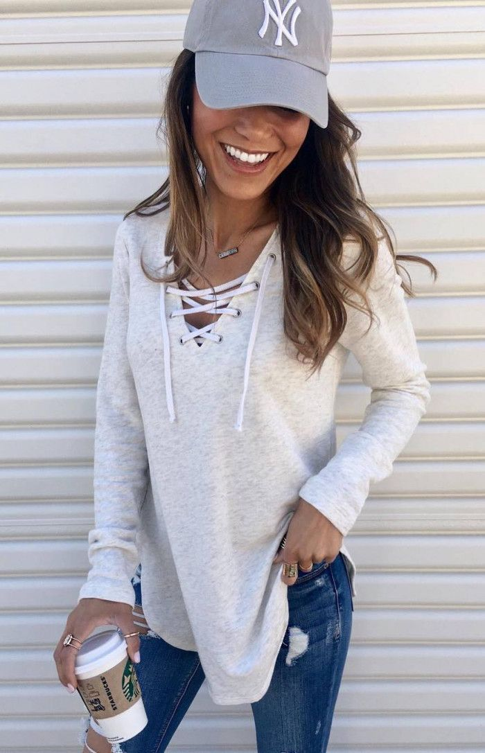 how to style a white lace up top   grey hat skinnies 6364c1b5b