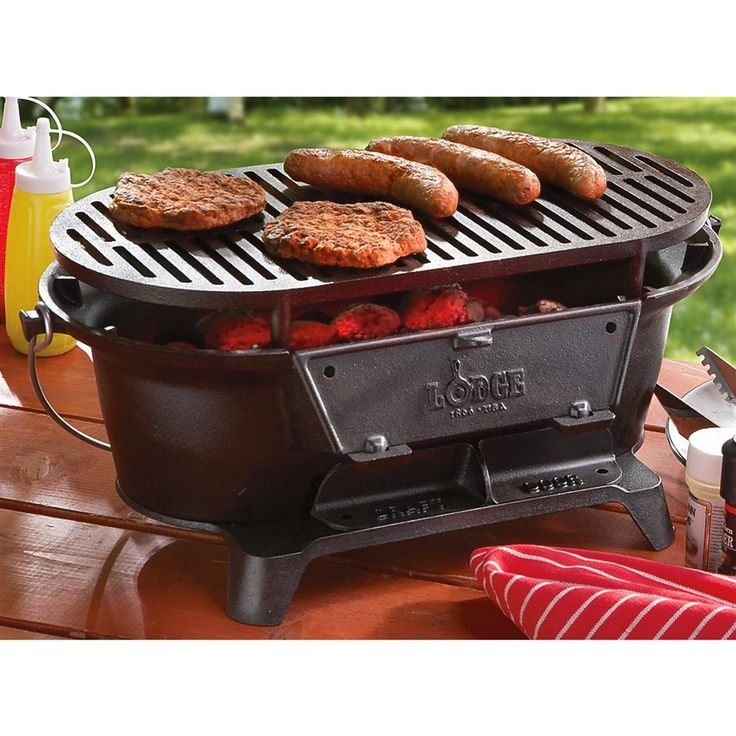 Lodge Sportsman Hibachi Charcoal Grill   Cast Iron Cooking Grates Provide  Surperior Heat Retention And Searing Ability, And Flip Down Door Allows  Easy ...