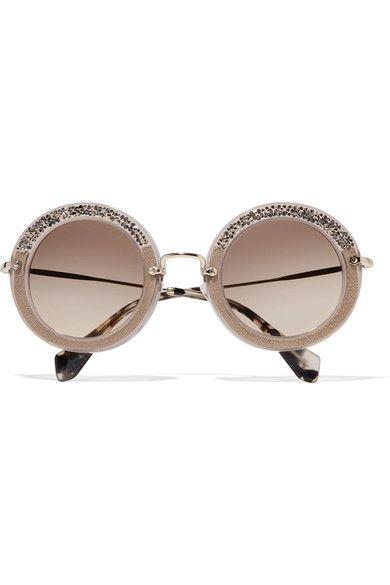 Miu Miu - Embellished Round-frame Acetate Sunglasses - Stone - One size