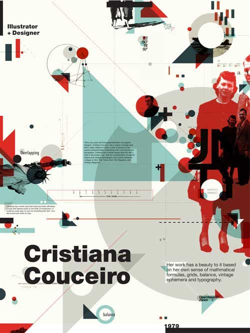 Double sided fold up poster comparing a historical designer ( Richard Paul Lohse) to a contemporary match (Cristiana Couceiro).