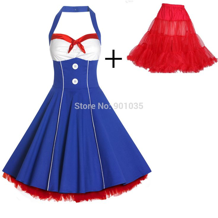 Gratis bezorging 50 s lady nautical sailor vintage stijl swing full circle rockabilly jurk + petticoat 56 cm(China (Mainland))