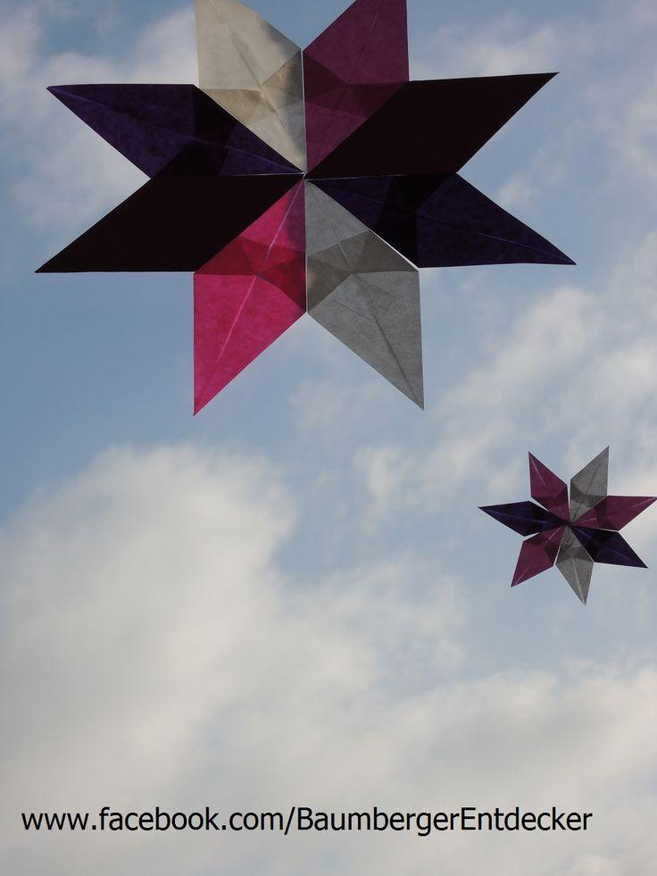 """""""Sterne falten""""  alle Beschreibungen und noch mehr Fotos findet ihr hier: www.facebook.com/BaumbergerEntdecker"""