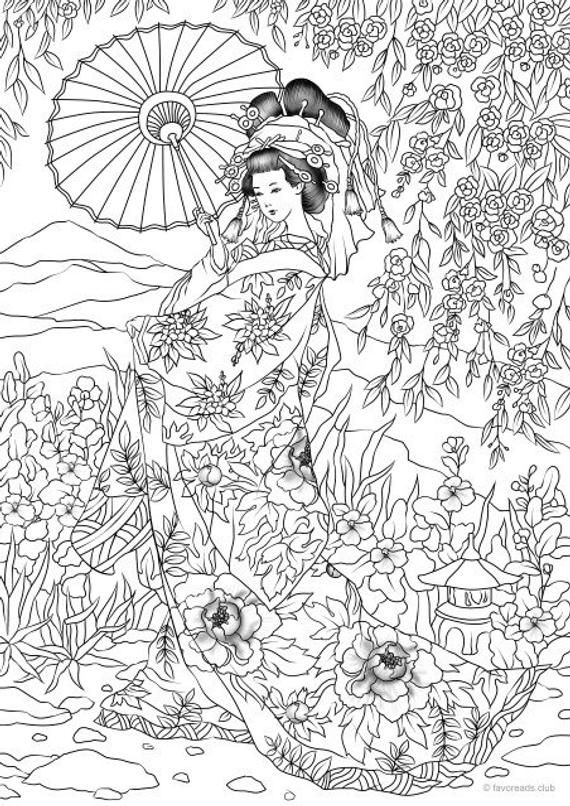 Japanese Woman Printable Adult Coloring Page From Favoreads