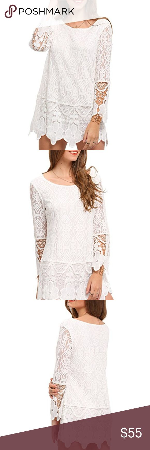 NWT Women's White Tunic Lace Dress Top Figure flattering tunic top, can be worn over leggings, or as a dress Crochet lace, floral Pure white color, lace throughout Casual, round neck, long sleeve, loose fit Xcel Couture Tops Blouses