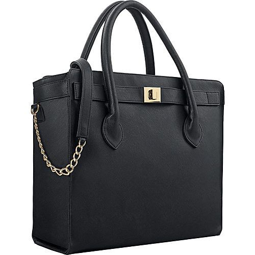 "Executive 15.6"" Laptop Tote in Black with Gold Chain and Hardware"