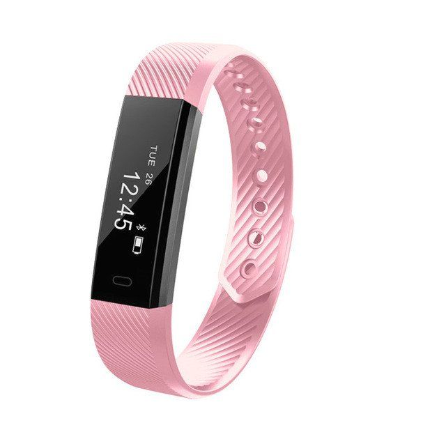 Pink Fitness Tracker Watch Band Smart Wristband Bluetooth Sleep Monitor Sport Bracelet for iOS, Android Phone