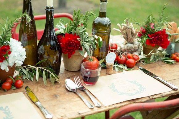 Theming Inspiration: Under the Tuscan Sun | New Zealand Weddings Magazine Set the scene for a warm-hearted feast by displaying a collection of fresh produce and eclectic, everyday items such as glass jars, baskets, watering cans and wooden crates.