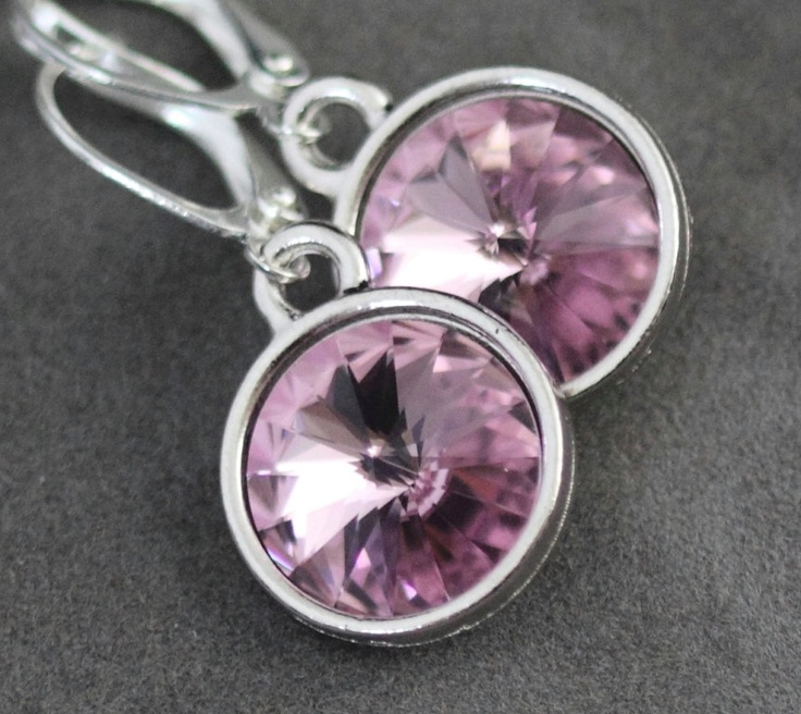 Alexandrite Earrings, Light Purple Amethyst Birthstone Jewelry, June Birthstone Earrings, Swarovski Crystal June Birthday Jewelry. $26.00, via Etsy.