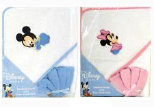 Disney Mickey Minnie Mouse Infant Baby Bath Hooded Towel w Washcloth - BLUE PINK