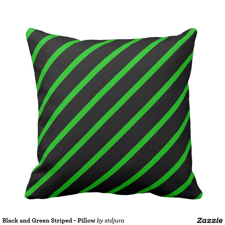 Black and Green Striped - Pillow  #Black #Green #Striped #Pillow #zazzle #BedroomAccessories #Accessories #HomeAccessories #polyester #design