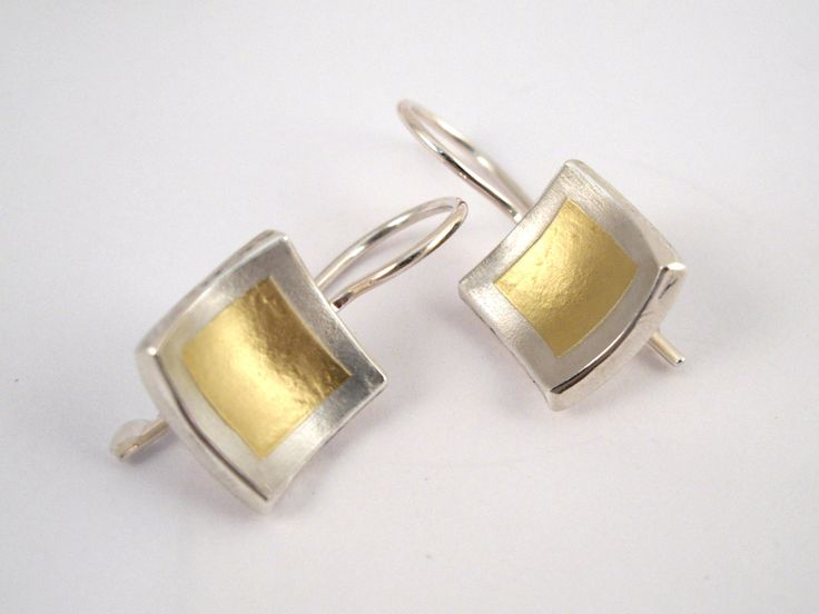 Beautifully simple gold and silver square earrings with gold fused on silver. by TomisCraft on Etsy
