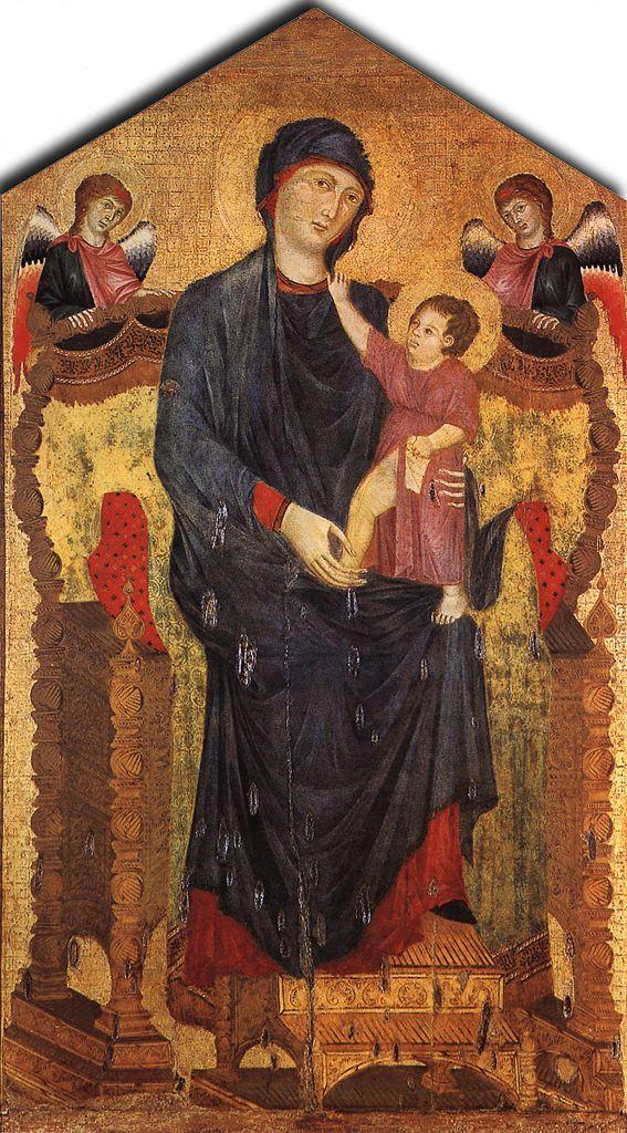 Cimabue (also known as Cenni Di Pepi ou Benvenuto di Giuseppe, ca. 1240-1302): Madonna Enthroned with the Child and Two Angels (Santa Maria dei Servi, Bologna, Italy (567x1024))