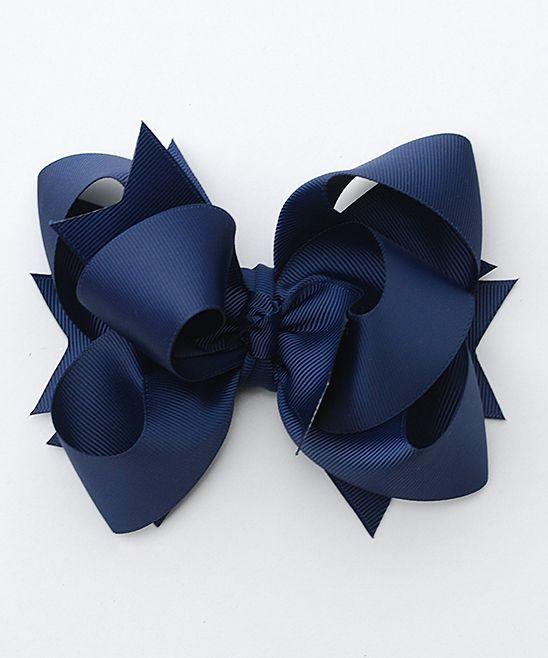 Navy Blue Triple-Layer Hair Bow