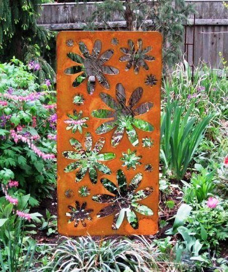 Large Rustic Accent Screen Garden Stake Hand Crafted