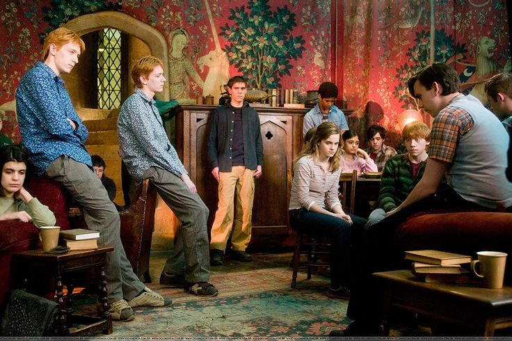 Alfred Enoch, Rupert Grint, Matthew Lewis, Devon Murray, Emma Watson, James Phelps, Oliver Phelps, and Afshan Azad in Harry Potter and the Order of the Phoenix (2007)