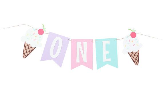 Ice Cream Party Highchair Banner  The colors and text of this banner can be customized to match your event decor.  Made from textured cardstock the ribbon cut flags measure approximately 5 inches tall and banner length is approximately 18 long. Ice cream cones are printed on high quality matte photo paper for a crisp and bright finish, the cone is of textured cardstock. The banner will say ONE in white letters. Let me know if you are looking for something different and I will be happy to…