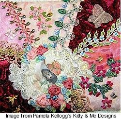 Crazy Quilt Stitches | of Kitty & Me Designs is posting a series of articles for newbie crazy ...
