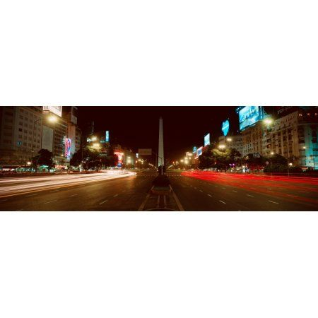 Panoramic view at night of Avenida 9 de Julio widest avenue in the world and El Obelisco The Obelisk Buenos Aires Argentina Canvas Art - Panoramic Images (36 x 12)