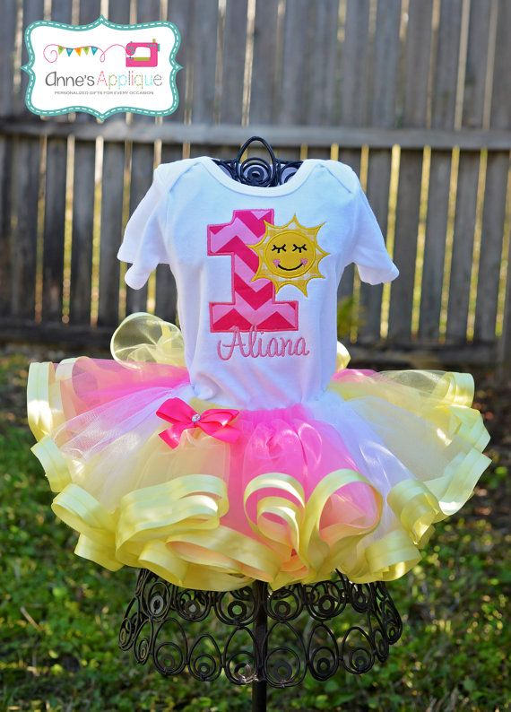 Hot Pink Yellow Sunshine Summer Birthday Outfit Onesie Tutu Shirt Custom Applique