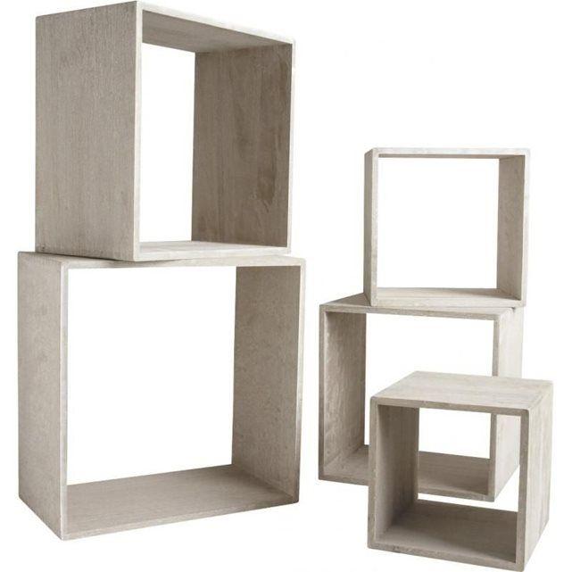 Etagere Cube Bois Brut