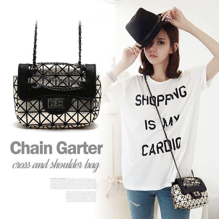 New Ladies Chain Black Shoulder bag Small Messenger Evening Cross Body Handbags  #Handmade #MessengerCrossBody