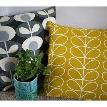Orla Kiely grey and yellow cushion covers and home accessories.
