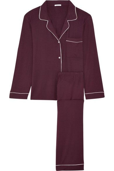 Eberjey's 'Gisele' pajamas are perfect for sleeping or lounging at home as the winter nights draw in. Cut from stretch-modal jersey in a rich burgundy tone, this set is trimmed with classic white piping and the pants have an elasticated waistband for comfort.