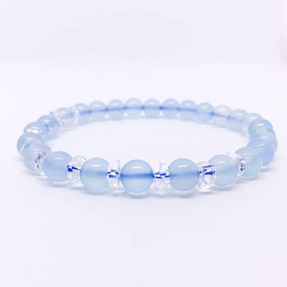Chalcedony Bracelet Blue Chalcedony Bracelet Rock Crystal