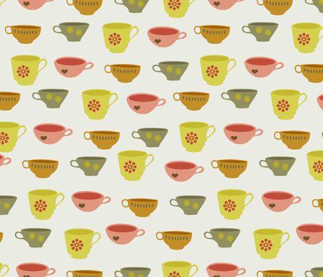 teacups fabric by troismiettes on Spoonflower - custom fabric