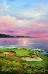 Golf Painting - 7th At Pebble by Sally Seago