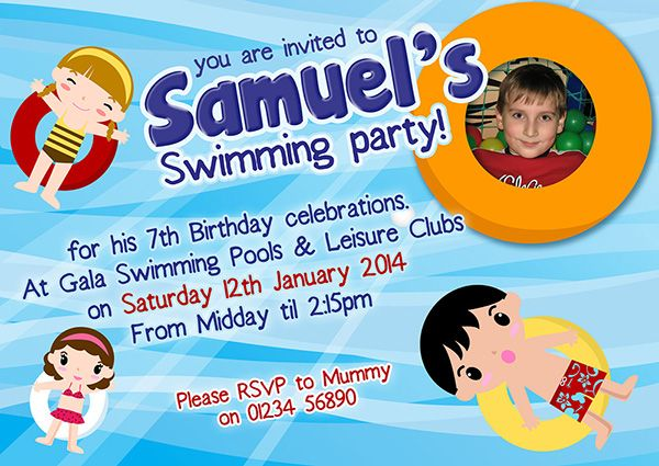 A personalised Swiming party invite perfect and unique to complement your childs birthday party theme. For a full range of different party theme invites visit www.justthecard.co.uk