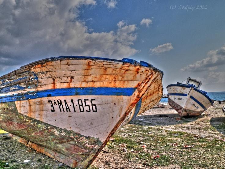 Old fishermen´s boats at La Atunara, Cádiz, Spain.