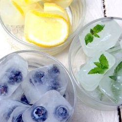 Summer Ice Cubes with Lemon, Mint, and Blueberries